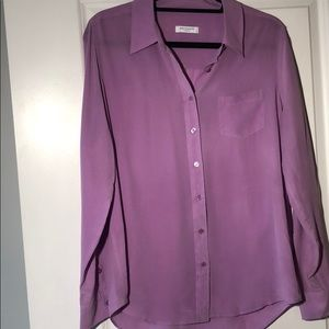 Equipment lilac button up silk top